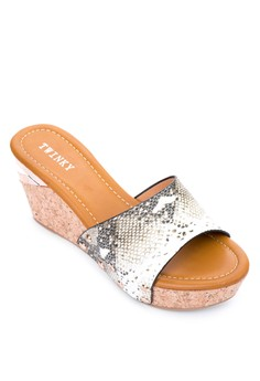 Snake Skin Wedge Slides