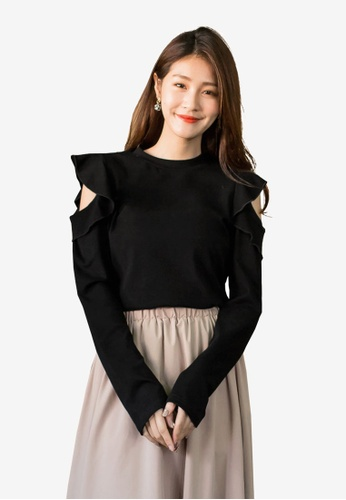 Tokichoi black Frill Open Sleeve Sweater CD18CAAFCB561EGS_1