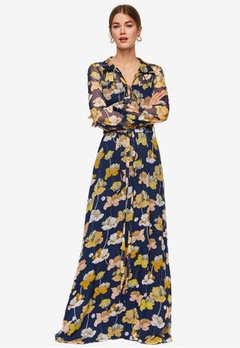 Mango blue Printed Chiffon Dress ADAFBAAF91CA7DGS_1
