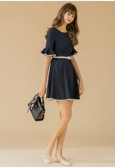23518a9ff0f2 71% OFF Eyescream Contrast Trim Belted Flare Dress S  64.90 NOW S  18.90  Sizes S M