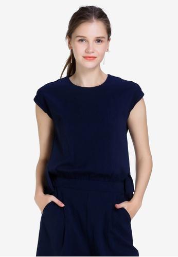 Hopeshow 海軍藍色 Sleeveless 1 Piece Suit 7693BAAC32E859GS_1