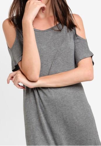 Basic cold shoulder dress with curved hem online zalora malaysia