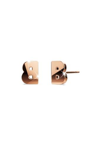 Bullion Gold gold BULLION GOLD Dainty Alphabet Letter Earring Rose Gold Layered Steel Jewellery - B 2A819ACAB4977BGS_1