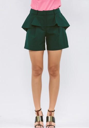綠色腰間荷zalora鞋子評價葉短褲, 服飾, 西裝短褲