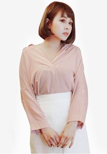 Eyescream pink Minimalist Wide Collar Shirt 96A57AADB91029GS_1