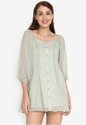 ZALORA BASICS green Square Neck Fit and Flare Dress 2670DAAC506533GS_1