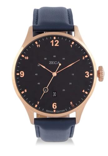 ZECA blue Zeca Watches Men Fashion Leather Analog - 2016MB Blue Rosegold ZE074AC0WDAAID_1