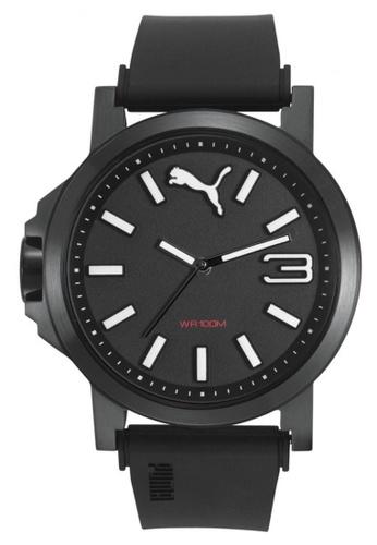 Puma white Puma Ultrasize 45 Black IP Case and Silicone Strap Watch PU440AC94NQBSG_1