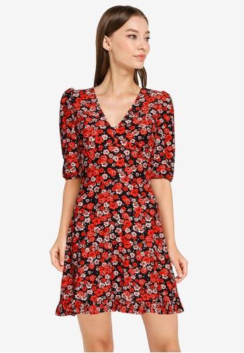 Miss Selfridge black Black Floral V Neck Fit & Flare Dress F92D4AA2AD0E8BGS_1