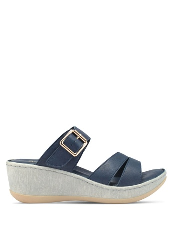 Bata 藍色 懶人楔型鞋 EDE25SH62D30F7GS_1