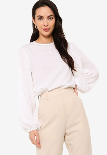 Sacoor Brothers white Women's Balloon Sleeve Blouse 1783DAABA67047GS_1