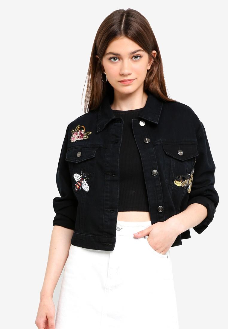Something Borrowed Black Washed Trucker Embellished Jacket rr4qwABp
