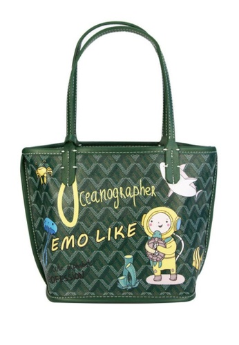 EMO green Canine Graffiti Pattern Totebag (Small)- Green bundled with 2 Small bag 3EFD3AC22B2C2EGS_1