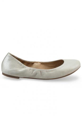 Shu Talk white and gold Metallic Sheepskin Suede Round Toe Ballet Flats SH617SH2USD4HK_1