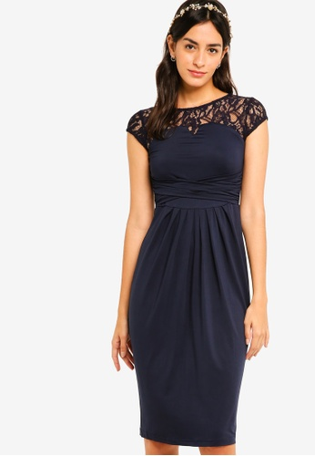 ZALORA navy Bridesmaid Lace Yoke Tulip Dress 2AB3FAA884F66CGS_1