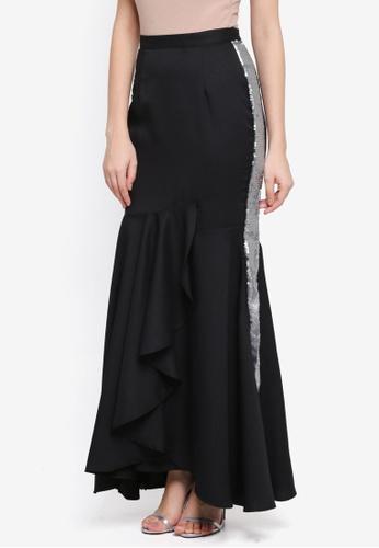 Lubna black Side Sequin Ruffles Skirt 4C013AA8056A3CGS_1