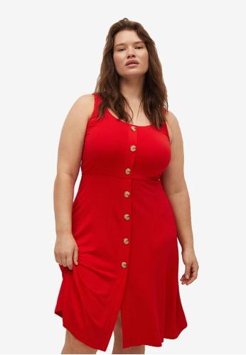 Violeta by MANGO red Plus Size Button Knit Dress 5E880AA82626A2GS_1