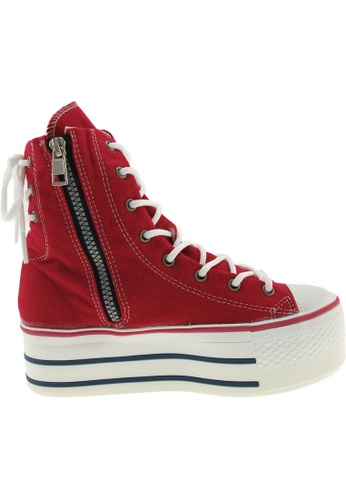 Maxstar red Maxstar Women's C50 Back Lace Platform Canvas Ankle High Sneakers US Women SizeBoots US Women Size MA164SH66PNXSG_1
