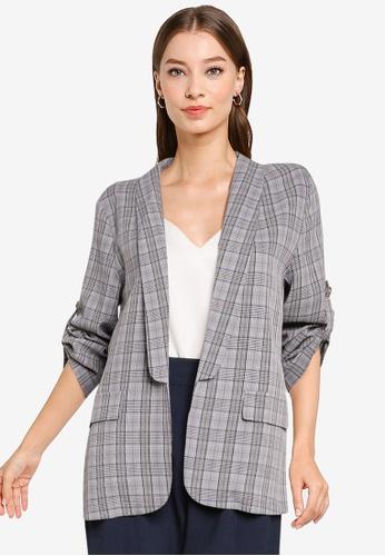 ZALORA WORK grey Shawl Collar Rolled Up Sleeves Blazer 628F5AA78B85F2GS_1