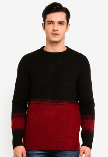 OVS 黑色 Stretch 雙色Pullover 9823DAA7EFB90FGS_1