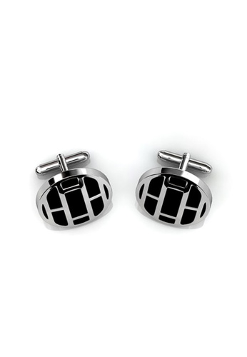 Her Jewellery black Mr Oil Paint 1 Cufflinks (Round 1) - Crystals from Swarovski® HE210AC96CIPSG_1