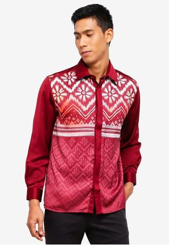 Gene Martino red Men's Batik Shirt 326A2AAEF31E22GS_1