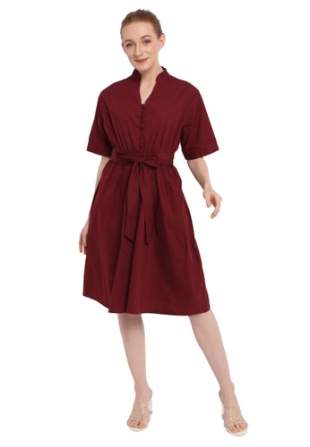 INSTYLE BY SURI red Jade Dress in Maroon 12267AA3A94C23GS_1