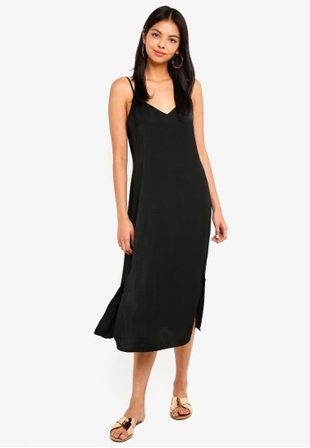 Cotton On black Woven Satin Midi Dress A7A8AAA1100F30GS_1