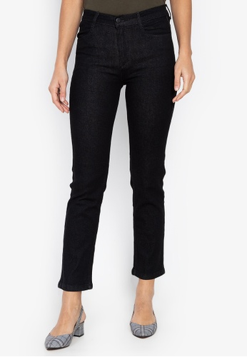 MARKS & SPENCER black Mid Rise Straight Leg Jeans 7258EAAAEC8A56GS_1