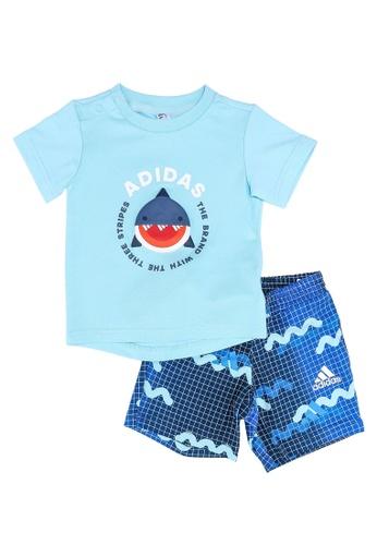 ADIDAS blue infants' tee and shorts sports set 22D00KA69B54BEGS_1