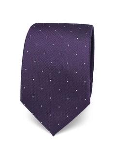 Burton Menswear London-紫色圓點設計領帶與方巾