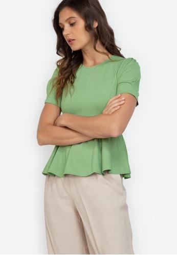 ZALORA WORK green Puff Sleeve Peplum Top 434D4AADEF5DE1GS_1