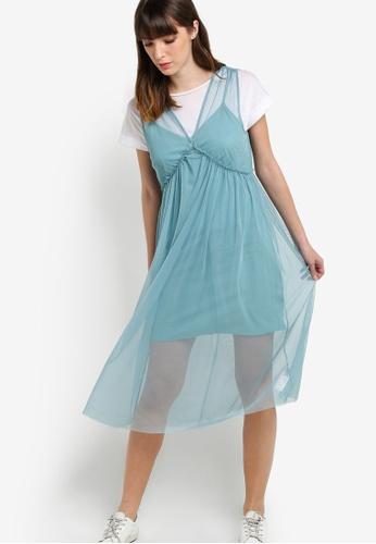 TOPSHOP 藍色 Tulle Sleeveless Midi Dress TO412AA24ZLVMY_1