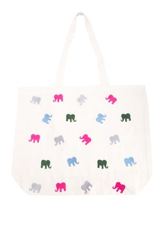 Elephants Embroidered Canvas Tote Bag
