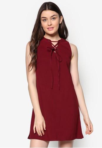穿孔繫帶仿zalora 手錶 評價麂皮連身裙, 服飾, 服飾