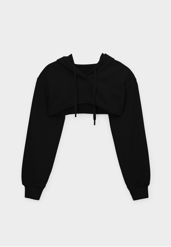 Pomelo black Cropped Long Sleeve Hoodie Top - Black EAB21AA81E7833GS_1