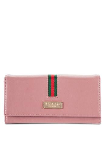 Unisa pink Textured Bi-Fold Wallet with Nylon Strap UN821AC03OYMMY_1