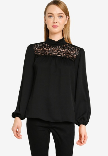 Dorothy Perkins black Black Lace Yoke Top 7D72CAAFBE1823GS_1