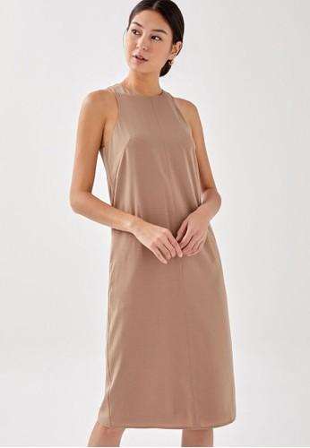 Love, Bonito brown Marcella Relaxed Midi Dress A33C4AAFA88E6BGS_1
