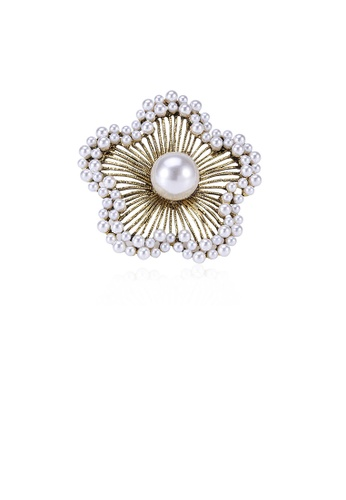 Glamorousky silver Fashion and Elegant Plated Gold Hollow Flower Imitation Pearl Brooch 0176FAC17ECE93GS_1