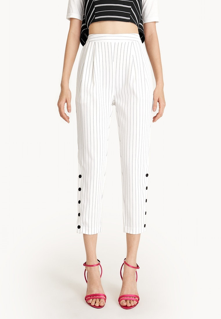 Buttoned Pinstripe Pomelo Slit Cropped Pants White Y1RqRvwp