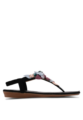 Mimosa black Floral and Sequin Patch Sandals 2ABB9SH96D68BAGS_1