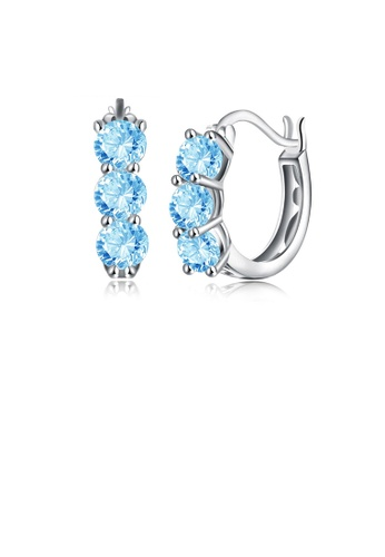 Glamorousky blue 925 Sterling Silver Simple Elegant Exquisite Circle Earrings and Ear Studs with Light Blue Cubic Zircon 92DA8AC4FEACB3GS_1