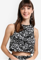 Miss Selfridge black Petite Lace Monochrome Top MI665AA61DDMMY_1