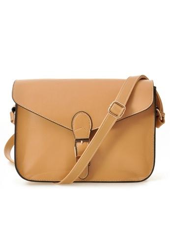 Jackbox brown Korean Casual PU Leather Shoulder Sling Bag 311 (Khaki) JA762AC43DHWMY_1