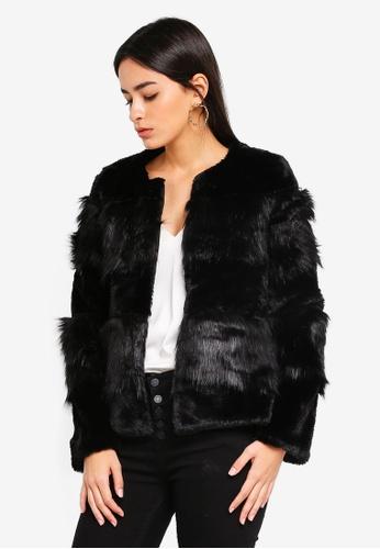 Vero Moda black Jazz Short Faux Fur Jacket 30DEAAA0FA5B2DGS_1