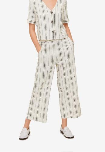 Mango beige Striped Cotton Trousers 9BEC1AADAF87BDGS_1