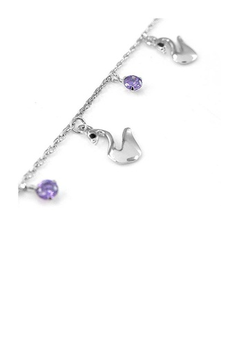 Glamorousky black Elegant Swan Anklet with Purple and Black Austrian Element Crystals E013FAC340F368GS_1