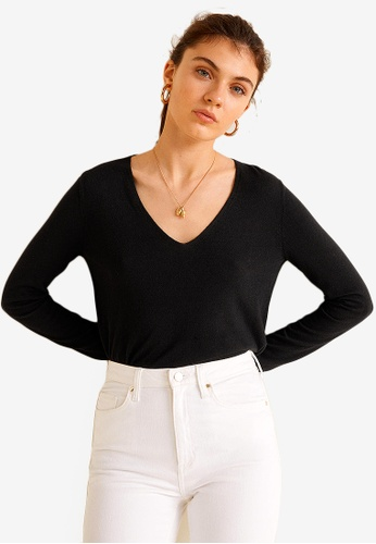 MANGO black V-Neck Cashmere Sweater 1DFBFAA00701FBGS_1