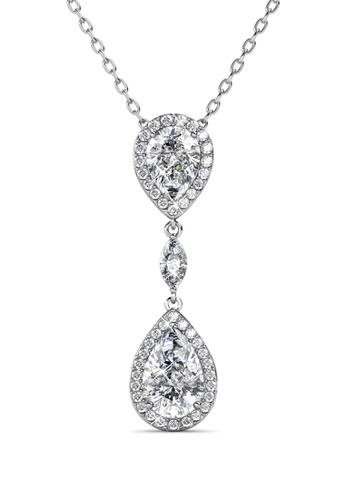 Her Jewellery Layla Drop Pendant (White Gold) - Embellished with Crystals from Swarovski® CD61BAC3BFFB37GS_1